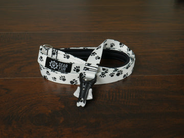Paw Prints Flat Double Leash