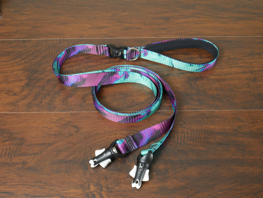 Blue Paws and Bones Flat Double Leash