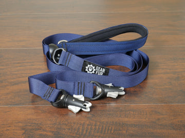 Navy Blue Flat Double Leash