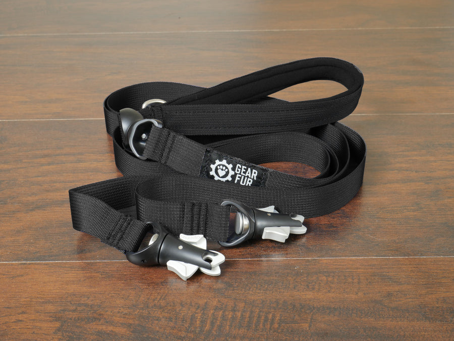 Black Flat Double Leash