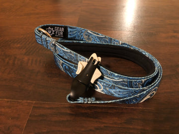Blue Paisley Flat Double Leash
