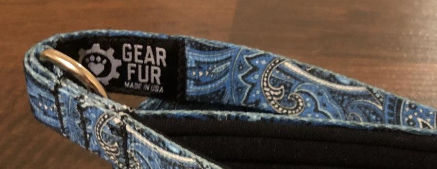 Blue Paisley Leash Belt