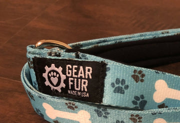 Blue Paws and Bones Leash Belt