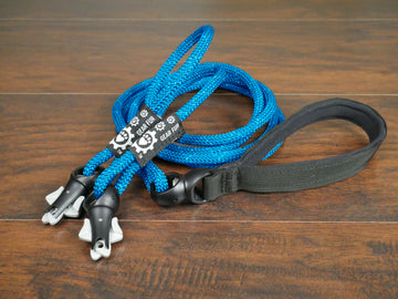 Blue Climbing Rope Double Leash