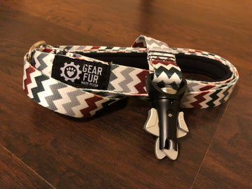 Red Chevrons Flat Leash
