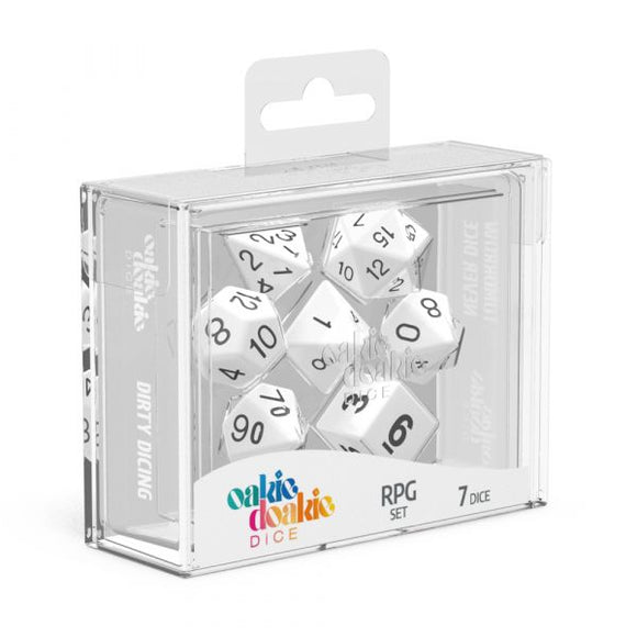 oakie doakie DICE RPG Set Solid: White (7)