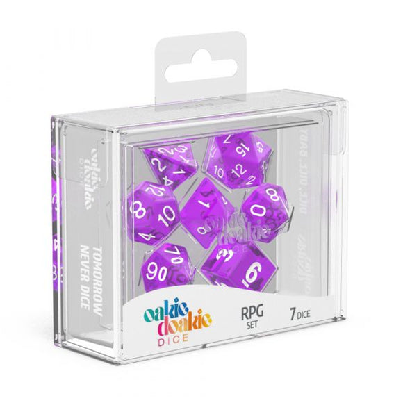 oakie doakie DICE RPG Set Translucent: Purple (7)