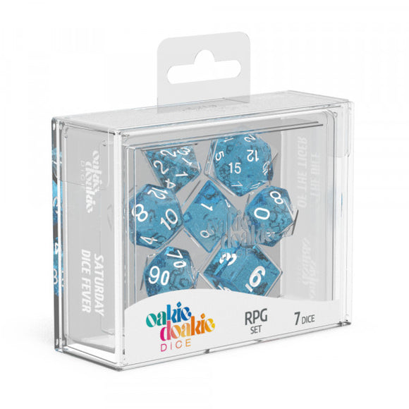oakie doakie DICE RPG Set Speckled: Light Blue (7)