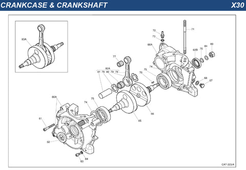 Top Kart USA - IAME X30 Crankcase and Crankshaft Group