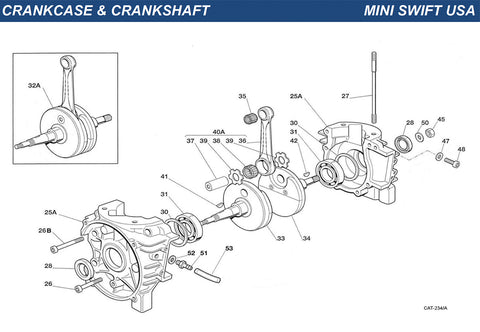 Top Kart USA - IAME Mini Swift Crankcase and Crankshaft Group