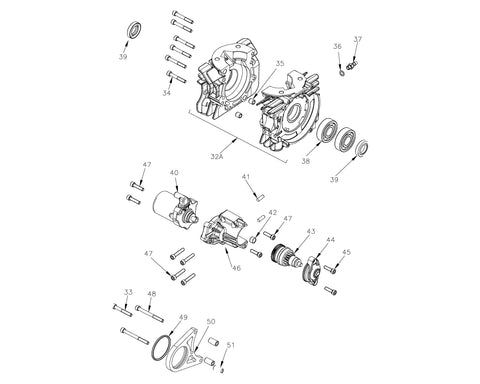 Mini ROK - Crankcase and Starter Group