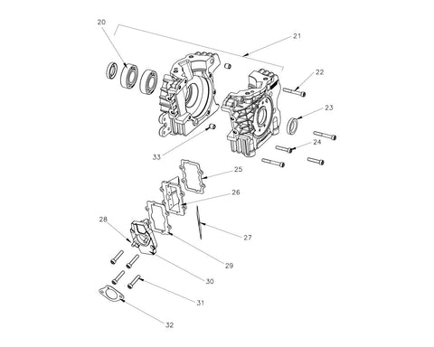 VLR 100 - Crankcase  & Reed Group