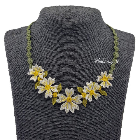 Handmade Needle Lace Flower Garden Necklace