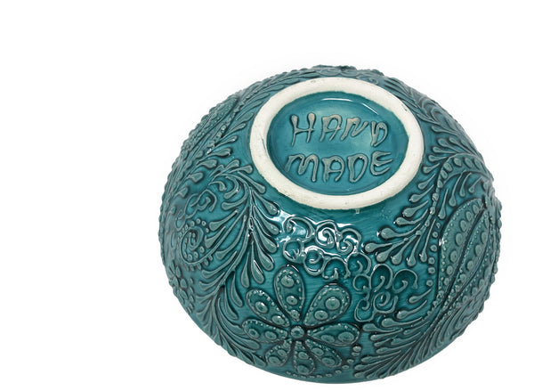 Ozel Handmade Ceramic Collection 10cm Bowl Turquoise