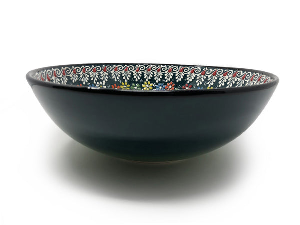 Dantel Turkish Handmade Ceramic 12cm Bowl Dark Green