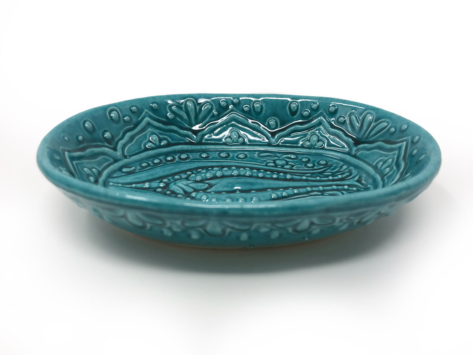 Ozel Handmade Ceramic Collection 14cm Oval Dish Turquoise
