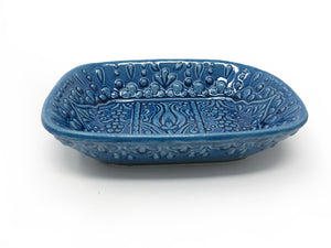 Ozel Handmade Ceramic Collection 14cm Rectangular Dish Blue