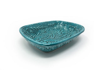 Ozel Handmade Ceramic Collection 14cm Rectangular Dish Turquoise