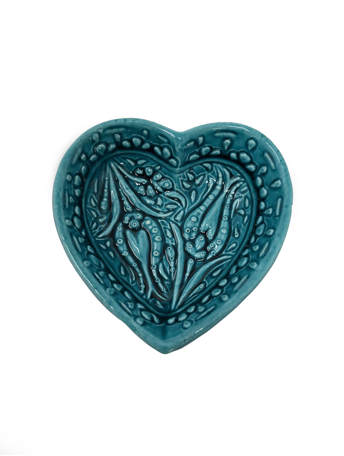 Ozel Handmade Ceramic Collection 8cm Heart Shaped Bowl Turquoise