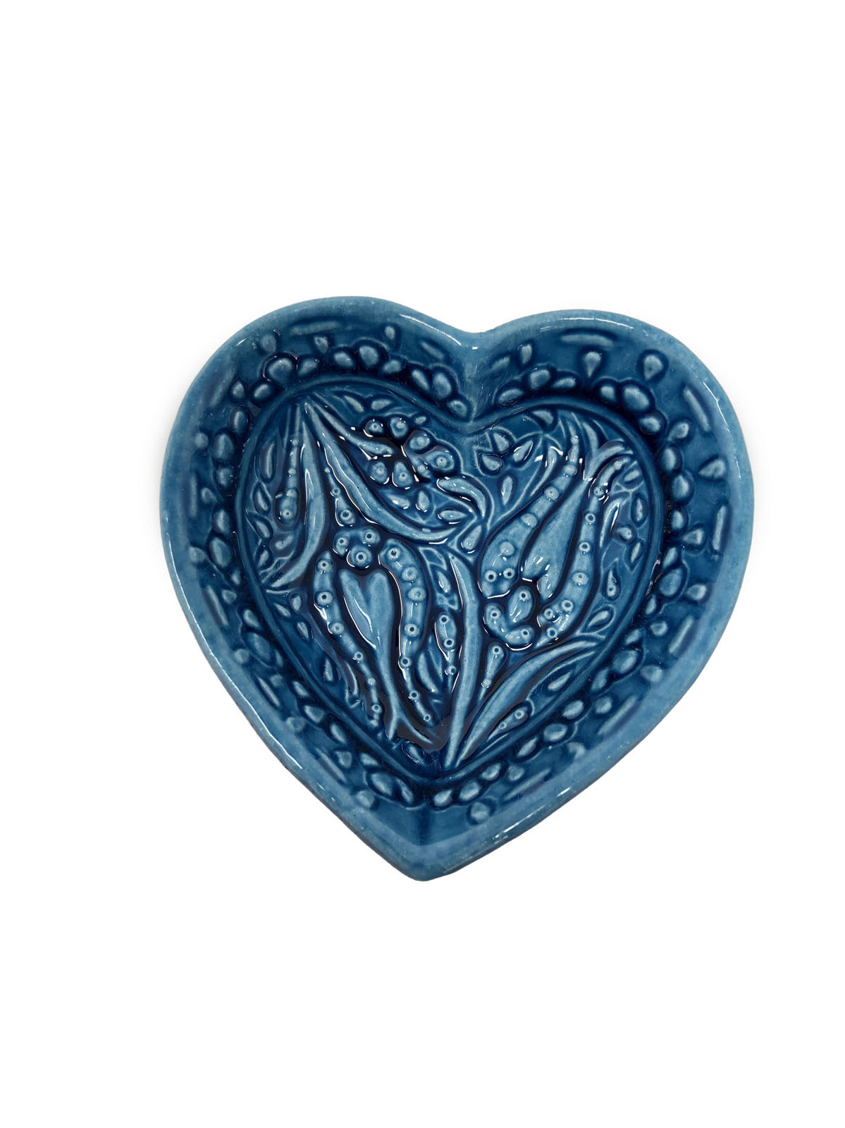 Ozel Handmade Ceramic Collection 8cm Heart Shaped Bowl Blue