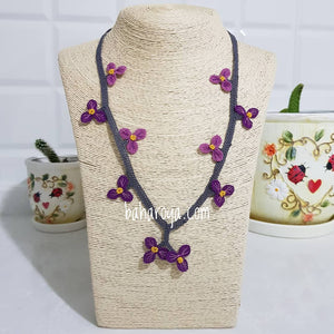 Handmade Needle Lace Clover Necklace
