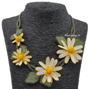 Handmade Needle Lace Daisy Chain Necklace