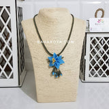 Handmade Needle Lace Pendulum Flower Necklace