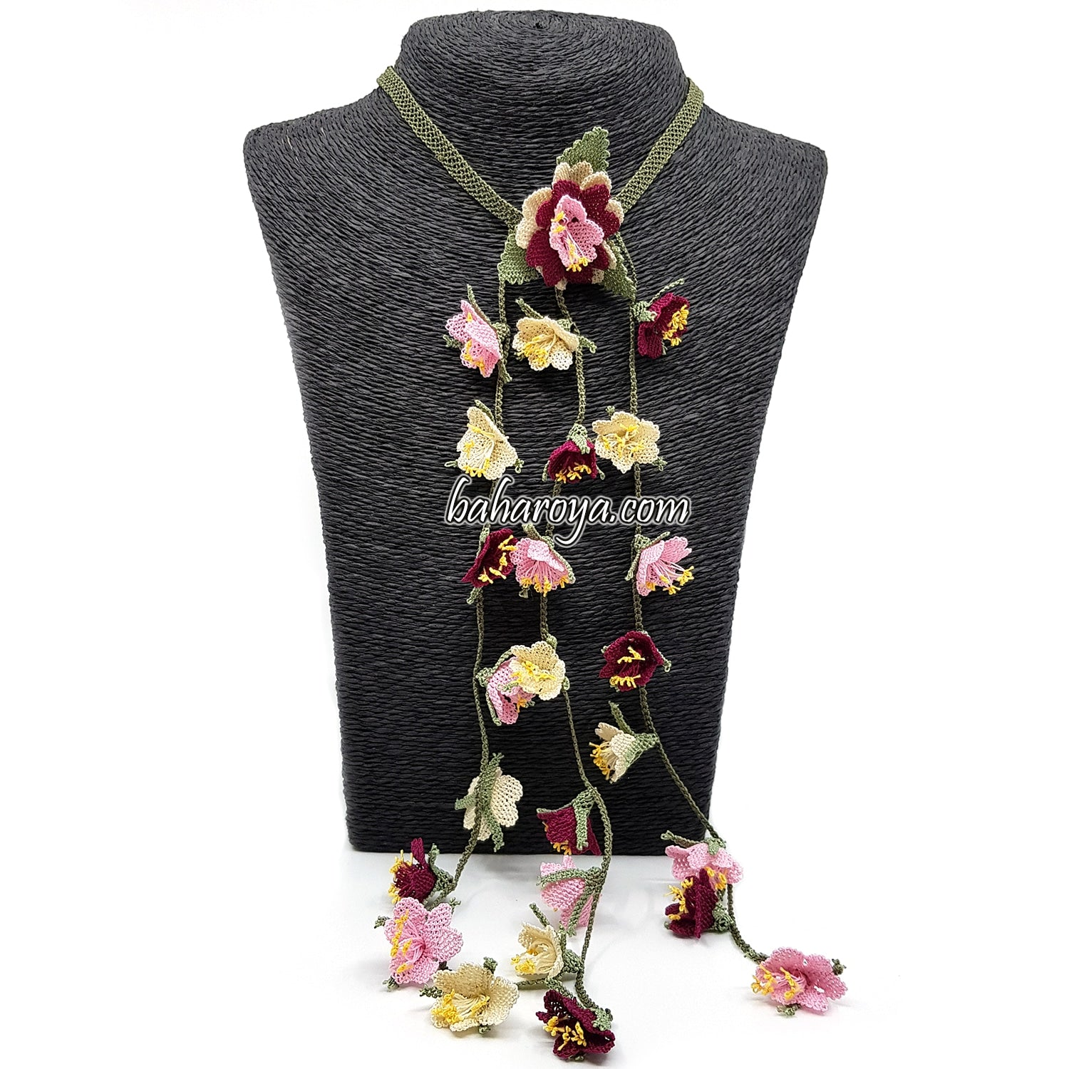 Handmade Needle Lace Special Scarf Flower Necklace