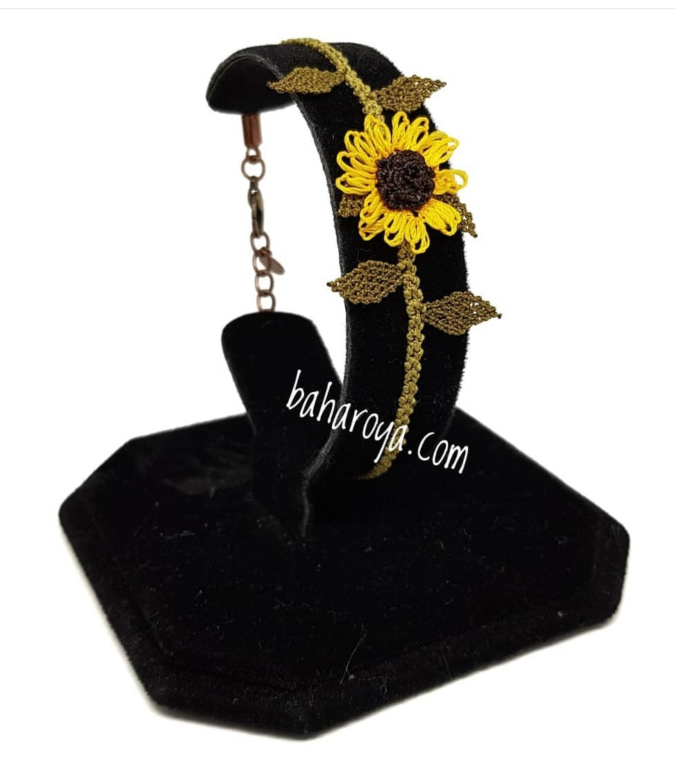 Handmade Needle Lace Sunflower Bracelet