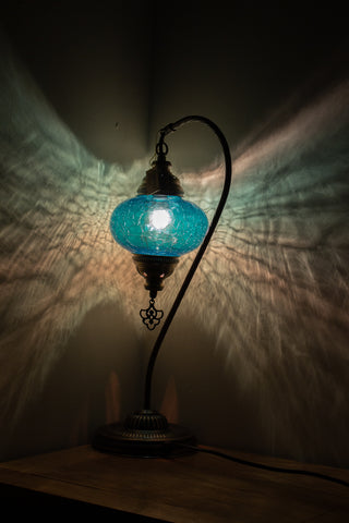 Hand Made Turkish Crackle Glass Swan Neck Size 3 Table Lamp Blue