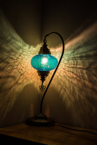 Hand Made Turkish Crackle Glass Swan Neck Size 3 Table Lamp Turquoise