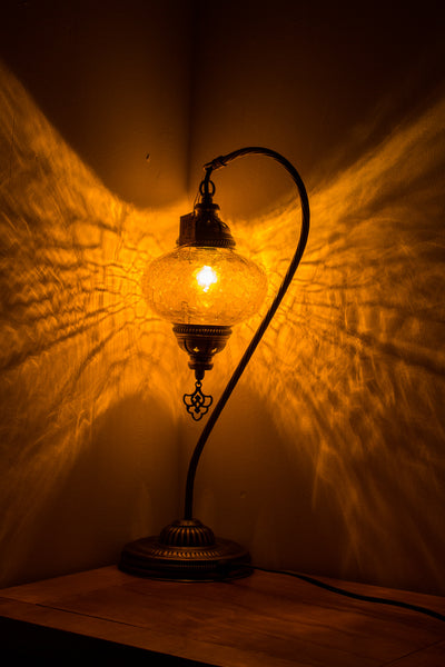 Hand Made Turkish Swan Neck Crackle Glass Size 3 Table Lamp Yellow