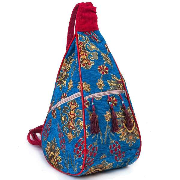 Tapestry Cross Body Double Strap Rucksack Bag