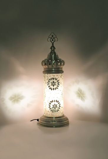 Hand Made Mosaic Cylindrical Table Lamp Size 2 in White Star Design