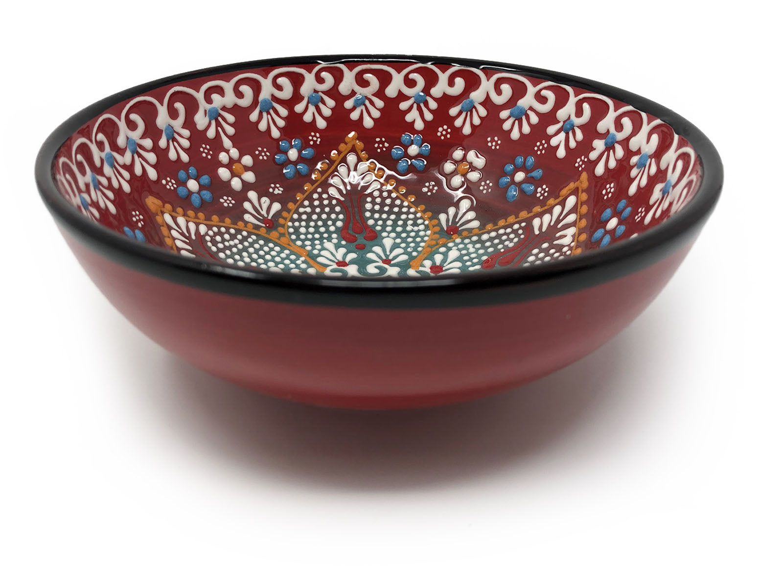 Dantel Turkish Handmade Ceramic 12cm Bowl Red