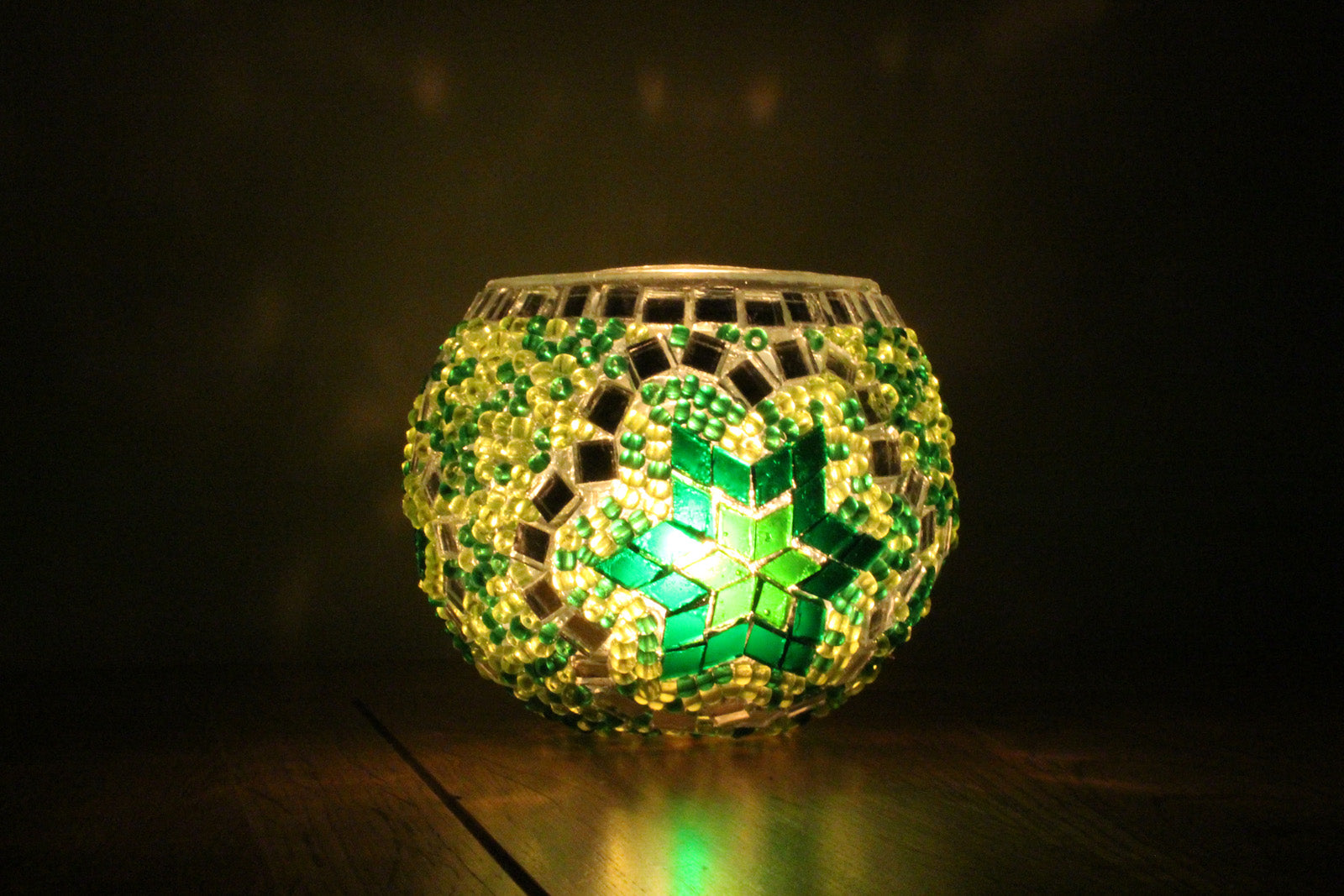 Hand Made Green Flower Mosaic Tea Light Holder