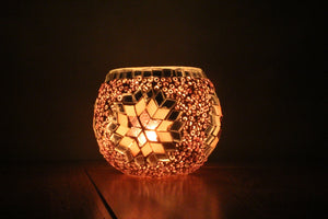 Hand Made Pink Star Mosaic Tea Light Holder