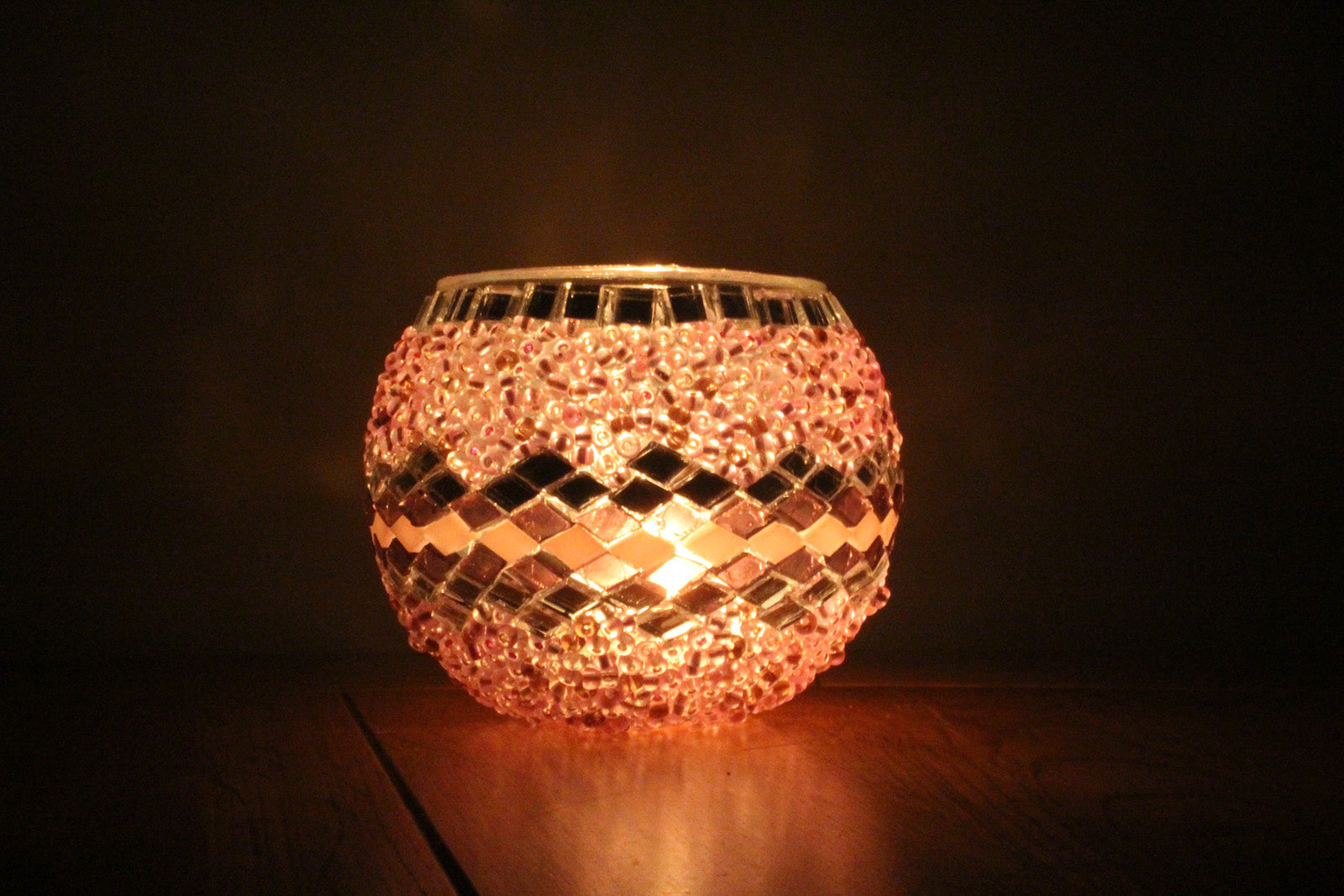 Hand Made Pink Wicker Mosaic Tea Light Holder