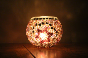 Hand Made Purple Flower Mosaic Tea Light Holder