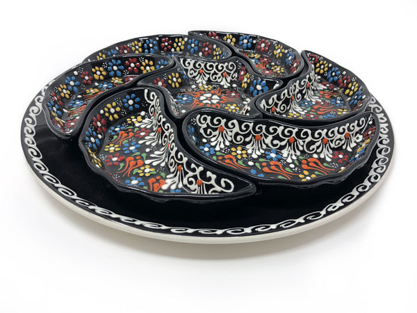 Handmade Turkish Ceramic 8 Piece Crudite Set in Mixed Flower Design