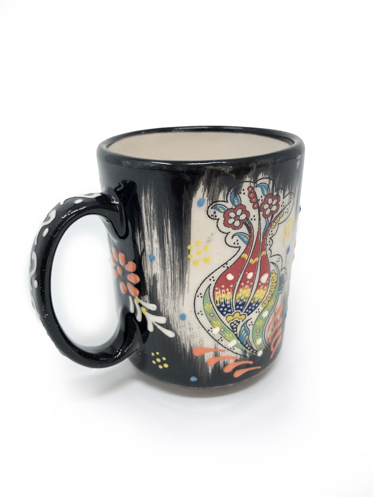Traditional Ceramic Handmade Tulip Mug Black