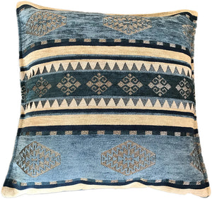 Chenille Blue & Silver Cushion