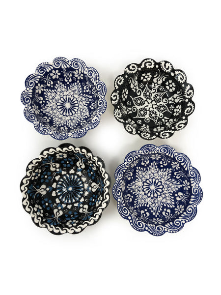 Turkish Handmade Ceramic Set of 4 Boxed 10cm Daisy Bowls 001