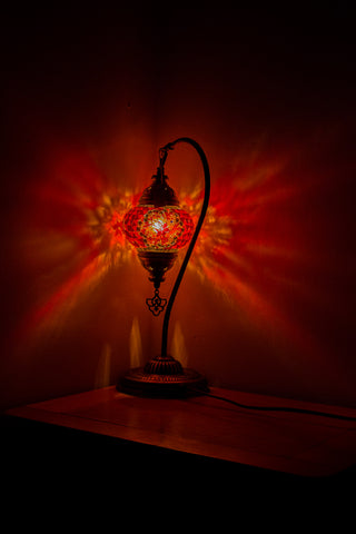 Hand Made Swan Neck Mosaic Table Lamp Size 2 in Orange Flower Design