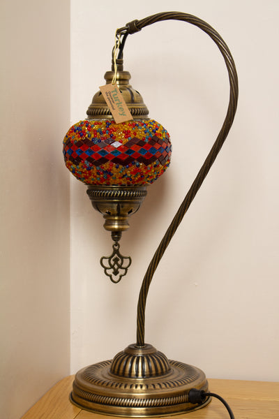 Hand Made Swan Neck Mosaic Table Lamp Size 2 in Flame Wicker Design