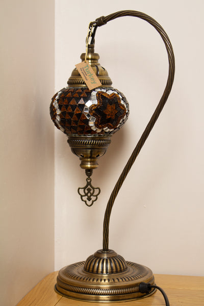 Hand Made Swan Neck Mosaic Table Lamp Size 2 in Gold Flower Design