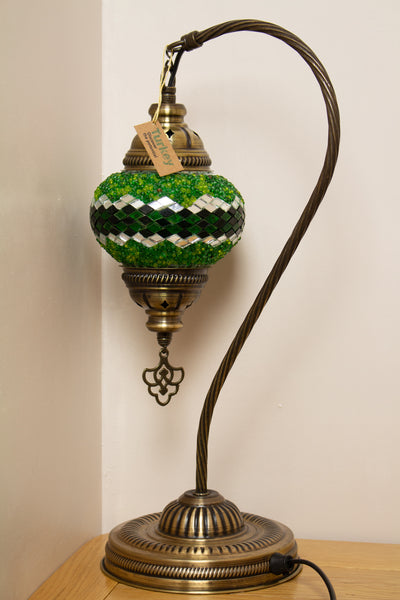 Hand Made Swan Neck Mosaic Table Lamp Size 2 in Green Wicker Design