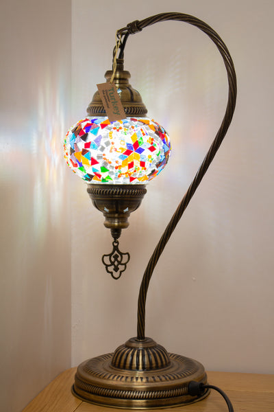 Hand Made Swan Neck Mosaic Table Lamp Size 2 in Mixed Flower Design