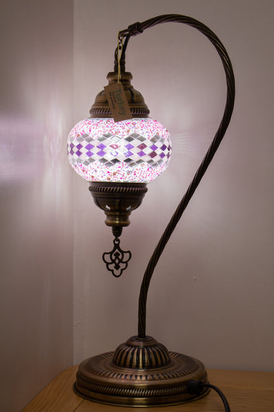 Hand Made Swan Neck Mosaic Table Lamp Size 2 in Pink Wicker Design