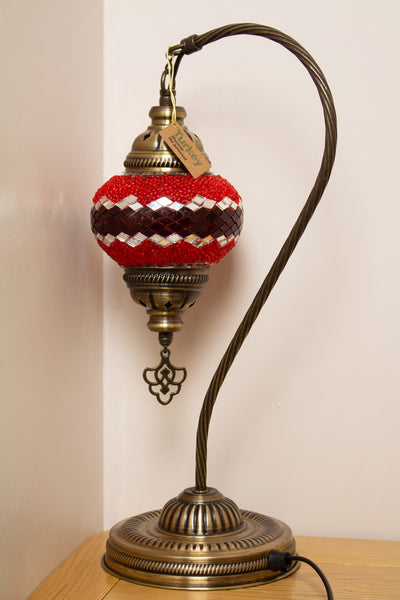 Hand Made Swan Neck Mosaic Table Lamp Size 2 in Red Wicker Design